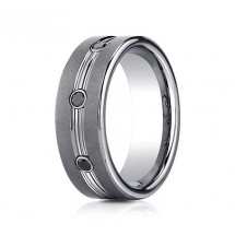 7mm Tungsten Ring with Three Round Black Diamonds