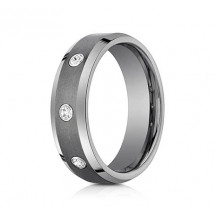 7mm Tungsten Ring With three Ideal-Cut Diamonds