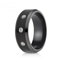 8mm Black Cobalt Diamond Ring