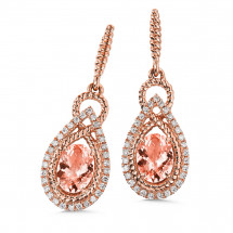 Morganite & Diamond Earrings in 14K Rose Gold | ACGE052P-DMRG
