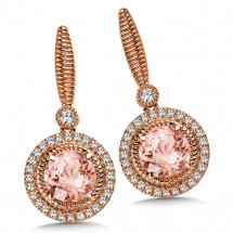 Morganite and Diamond Earrings in 14K Rose Gold (0.02 ct. tw.)