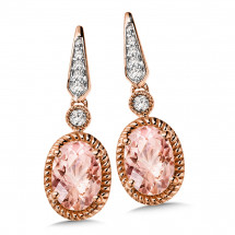 Morganite and Diamond Earrings in 14K Rose Gold (0.07 ct. tw.)