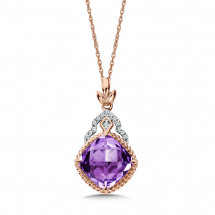 Amethyst and Diamond Pendant in 14K Rose Gold (0.05ct. tw.)