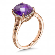 Amethyst and Diamond Ring in 14K Rose Gold | ACGR001P-DAM