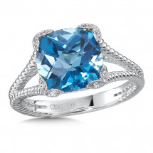Blue Topaz & Diamond Ring in 14K White Gold | ACGR012W-DBT