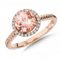 Morganite and Diamond Ring in 14K Rose Gold (0.14 ct. tw.)