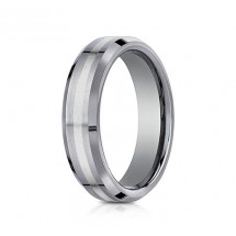6mm Tungsten Ring With White Gold Inlay