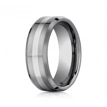 8mm Tungsten Ring With White Gold Inlay