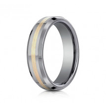 6mm Tungsten Ring With Yellow Gold Inlay