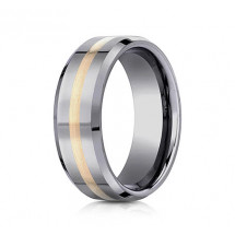 8mm Tungsten Ring With Yellow Gold Inlay