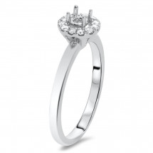 Round Halo Engagement Ring in Solitaire for 1 ct Stone | AR14-056