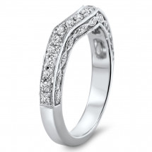 Shadow Milgrain Matching Wedding Band 0.39ct