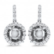 Halo Dome Diamond Earrings for 1 Carat Stone