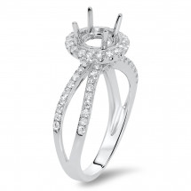 Round Halo Engagement Orbit Ring for 1.5ct Stone
