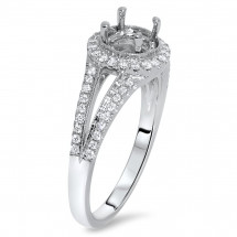 Round Halo Engagement Ring with Split Shank for 1.5 Carat Stone