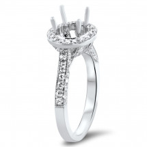 Round Halo Custom Engagement Ring for 2ct Stone