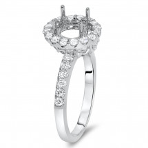 Classical Round Halo Engagement Ring for 1 Carat Stone