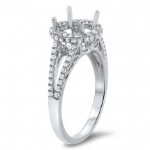 Round Halo Filigree Engagement Ring for 1ct Center Stone