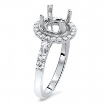 Round Halo Engagement Ring with 10 Micro Pave for 1ct Stone