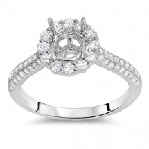 Pave Round Halo Engagement Ring for 1 ct Center Stone | AR14-165