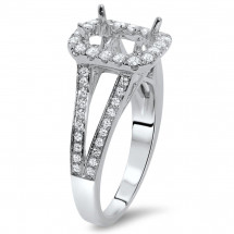 Rectangular Engagement Ring with Halo for 1.25ct Stone