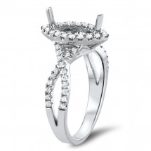Infinity Marquise Halo Engagement Ring for 1 Stone