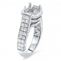 Square Halo Princess Engagement Ring for 2 ct Stone | AR14-127