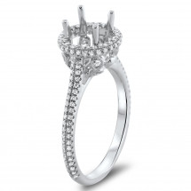 Round Halo Engagement Ring with Double Micro Pave for 1 Carat Stone