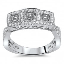 Past Present Future Pave Halo Engagement Ring 0.56ct