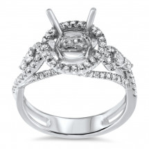 Round Halo Engagement Ring for 2ct Center Stone