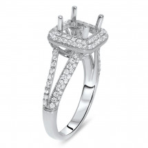 Rounded Square Halo Engagement Ring for 2ct Stone