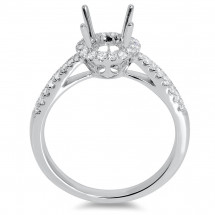 Round Halo Engagement Ring with Micro Pave 8 for 1ct Stone