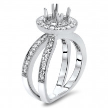 Round Halo Engagement Orbit Ring for 1 Carat Stone