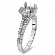 18k White Gold Round Micro Pave Halo Engagement Ring for 1ct Stone