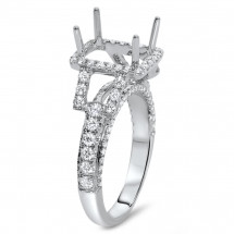 Rectangular Engagement Ring with Halo for 3ct Stone
