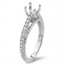 Micro Pave Engagement Ring with Side Stones for 1ct Stone | AR14-210