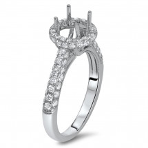 1.5 ct Round Pave Halo Engagement Ring