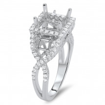 Square Halo Engagement Ring 0.70ct