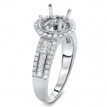Round Halo Engagement Ring with 2 Row Micro Pave for 1.5ct Stone