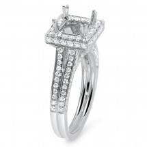Square Halo Micro Pave Engagement Ring for 1ct Stone