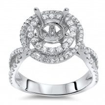 Round Double Halo Engagement Ring for 1.5 ct Center Stone | AR14-159