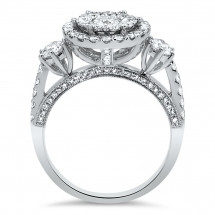 Three Stone Illusion Halo Engagement Ring