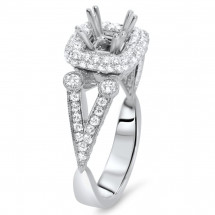 0.75ct Round Cut Diamond Halo Engagement Ring