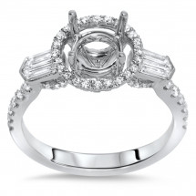 Past Present Future Halo Engagement Ring for 1.5ct Stone