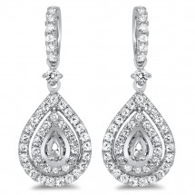 Pear Shape Halo Diamond Earrings for 0.5ct Stone