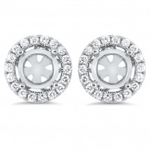 Round Halo Micro Pave Earrings for 1.5 Carat Stone