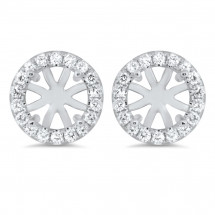 Round Micro Pave Halo Earrings for 1.5 ct Stone