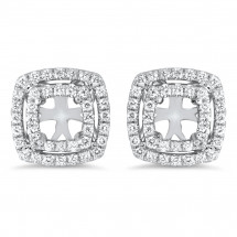 Double Halo Cushion Earrings for 1.25ct Stone