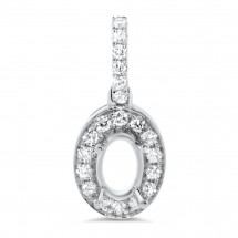 Oval Halo Diamond Pendant for 2 Carat Stone