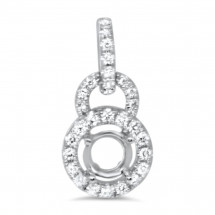 Round Halo Swinging Bail Diamond Pendant for 0.5ct Stone
